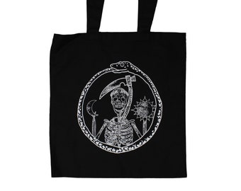 The Cycle Screen Printed Black Tote Bag