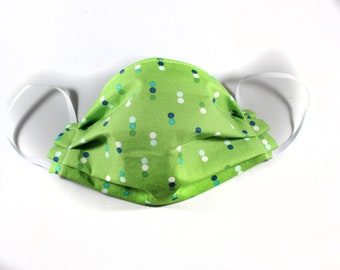 Green Dot Cotton Non Woven Interfacing Pleated Mask