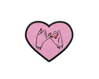 Friends Forever Pink Iron On Embroidered Patch