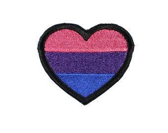 Bisexual Pride Heart Iron On Embroidered Patch
