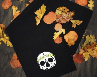 Laurel Skull Embroidered Black Tea Towel