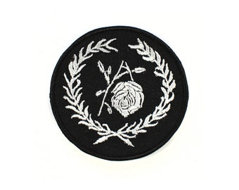 Broken Bloom Victorian Mourning Embroidered Patch