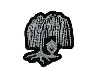 Willow and Urn Victorian Mourning Cemetery Iron On Embroidered Patch
