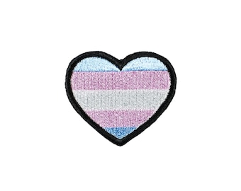 Trans Pride Heart Iron On Embroidered Patch