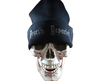 Dearly Departed Embroidered Black Knit Beanie