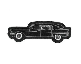 Black Hearse Iron On Embroidered Patch