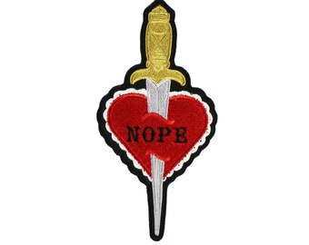 Nope-Dagger- Valentine Heart-Embroidered-Iron On-Sew On Patch