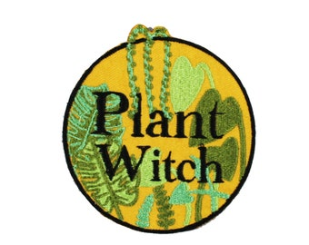 Plant Witch-House Plant-Green-Golden-Embroidered-Iron On-Sew On Patch