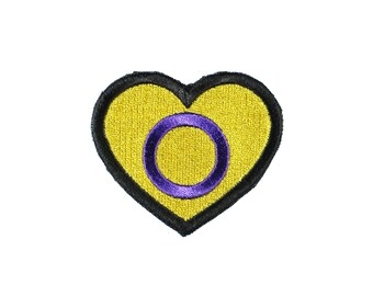 Intersex Pride Heart Iron On Embroidered Patch