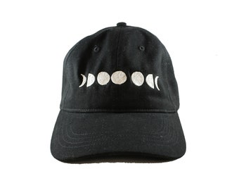 Moon Phase-Silver-Embroidered-Black-Unstructured Hat-Dad Hat