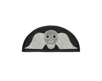 Winged Skull Victorian Mourning Headstone Embroidered Iron On Patch