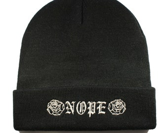 NOPE Embroidered Winter Hat Knit Beanie