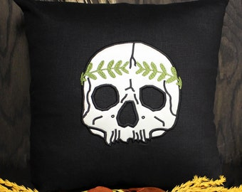 Laurel Skull Applique 18x18 Pillow