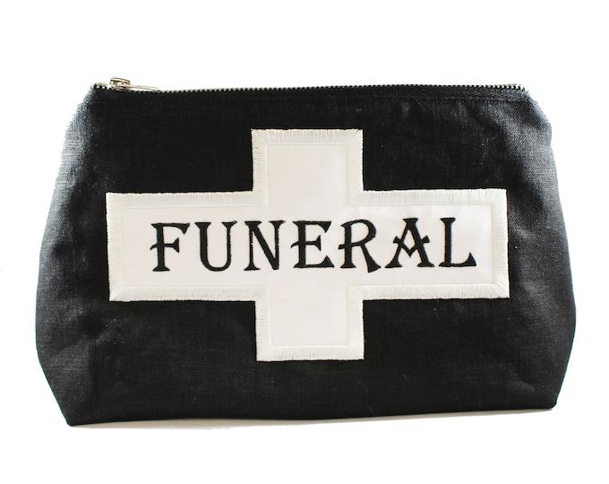 Featured listing image: Funeral Flag-Fully Lined-Cotton Linen-Makeup Bag-Stash Bag