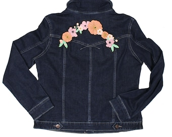 Orange and Pink Floral Embroidered Iron On Back Patch MADE TO ORDER