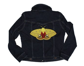IO-Giant Moth-Embroidered-Iron On-Sew On- Made To Order Back Patch