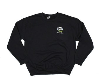 Memento Mori Black Crew Neck Embroidered Sweatshirt