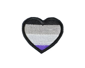 Asexual Pride Heart Iron On Embroidered Patch