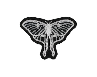 Luna Moth-Black-White-Silver-Embroidered-Iron On-Sew On Patch