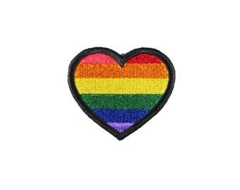 LGBTQ+ Pride Flag Heart Embroidered Iron On Patch