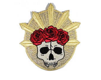 Rose Crown Skull Gold Metallic Iron On Patch