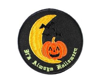 It's Always Halloween-JackOLantern-Bats-Moon-Halloween-Embroidered-Iron On Patch