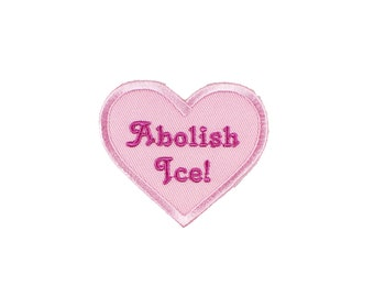 Abolish ICE Heart Iron On Embroidered Patch