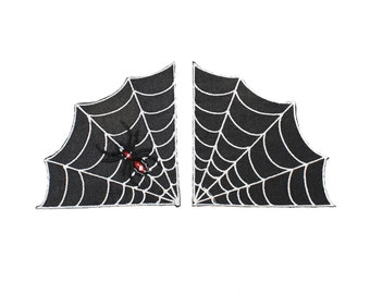 Spider and Webs Large Duo Iron On Embroidered Patch