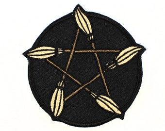 Broomstick Pentagram Iron on Patch