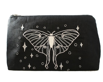 Luna Moth-Silver-Embroidered-Fully Lined-Cotton Linen-Makeup Bag-Stash Bag