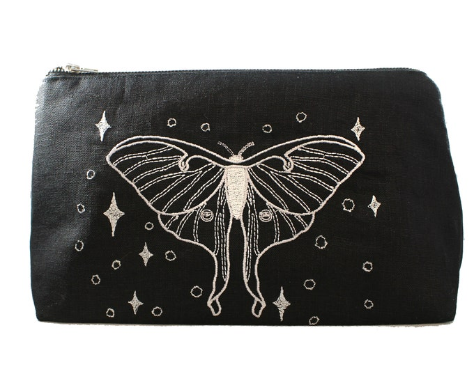 Featured listing image: Luna Moth-Silver-Embroidered-Fully Lined-Cotton Linen-Makeup Bag-Stash Bag
