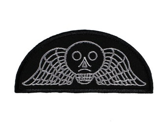 Winged Skull-Victorian-Mourning-Headstone-Embroidered-Iron On-Sew On Patch