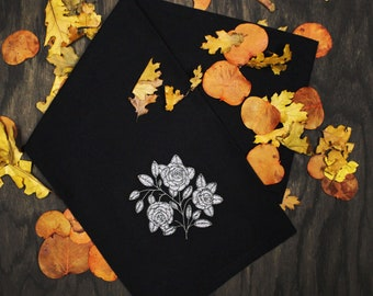 Broken Blooms Headstone Inspired Black Flour Sack Tea Towel