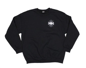 Triple Goddess Embroidered Black Crewneck Sweatshirt
