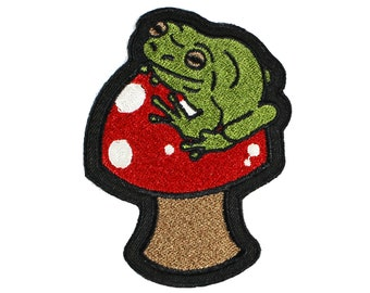 Frog-Mushroom-Embroidered-Iron On-Sew On Patch