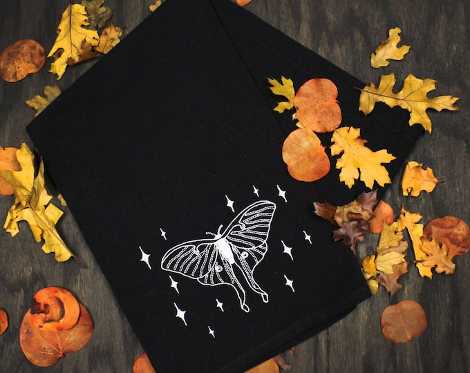 Featured listing image: Luna Moon Silver Embroidered Black Flour Sack Tea Towel