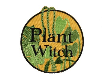Plant Witch Iron On Embroidered Patch