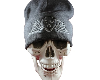 Winged Skull Headstone Embroidered Gray Knit Beanie