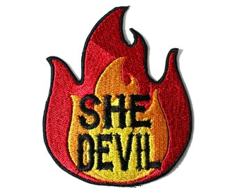 She Devil Satan Is A Woman Embroidered Iron On Patch