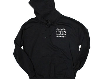 1312 Barbed Wire Embroidery Black Hoodie