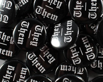 They/Them 1 inch pinback button