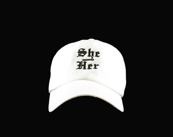 She-Her-Pronoun-White-Unstructured-Hat-ON SALE