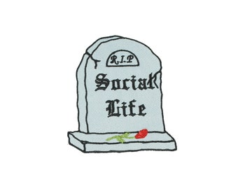 Rest In Peace Social Life Headstone Iron On Embroidered Patch