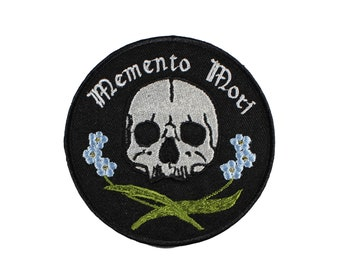 Memento Mori-Skull-Forget Me Nots-Floral-Embroidered-Iron On Patch