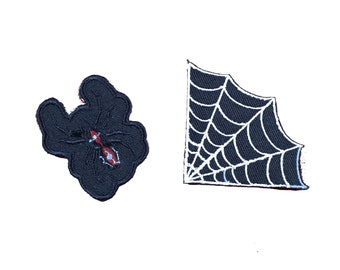 Mini Spider and Web Collar Embroidered Iron On Patch Set