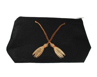 Broomstick-Magical-Black-Linen- Embroidered-Stash Bag- Make Up Bag