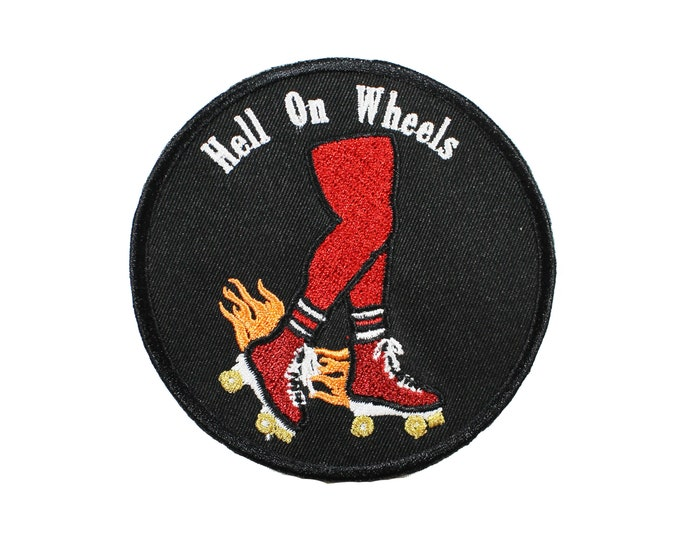 Featured listing image: Hell On Wheels-Roller Skating-Embroidered-Iron On-Sew On Patch