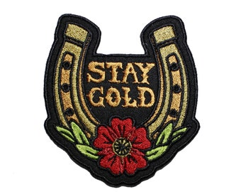 Stay Gold-Horseshoe-Tattoo Style-Embroidered-Iron On- Sew On Patch