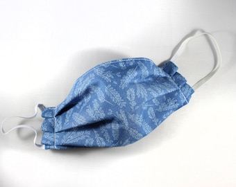 Blue Floral Cotton Non Woven Interfacing Pleated Mask