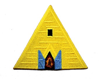 Yellow Temple Midsommar Iron On Embroidered Patch